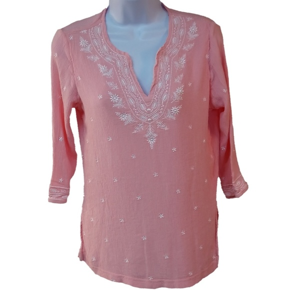 8254189bf30c1 Cathy Daniels Tops - FINAL Cathy Daniels Tunic Embroidery Pink Lined SM
